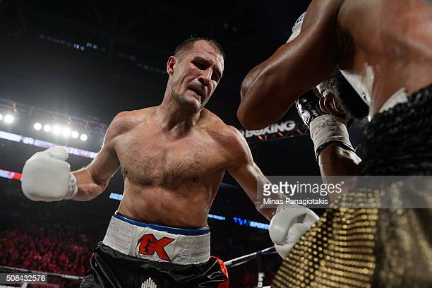 Sergey Kovalev of Russia corners Jean Pascal of Canada during the WBO WBA and IBF light heavyweight world championship match at the Bell Centre on...