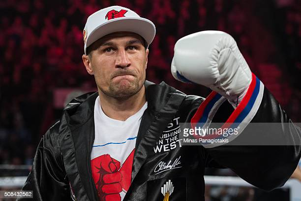 Sergey Kovalev of Russia enters the ring during the WBO WBA and IBF light heavyweight world championship match against Jean Pascal of Canada at the...