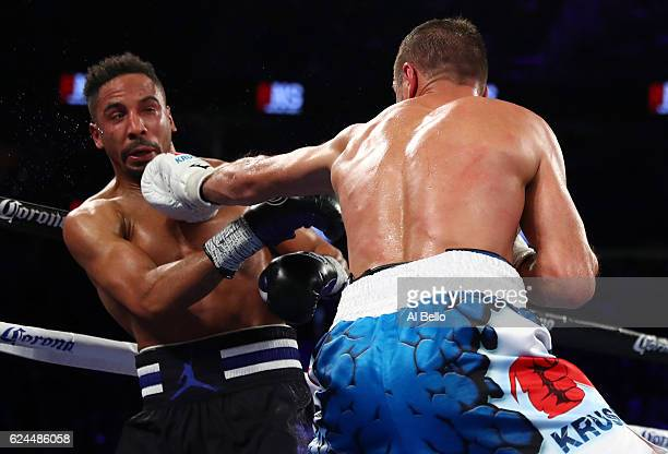 Sergey Kovalev of Russia lands a left to the head of Andre Ward during their light heavyweight title bout at TMobile Arena on November 19 2016 in Las...