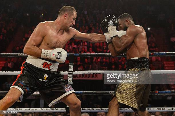 Sergey Kovalev of Russia lands a punch on Jean Pascal of Canada during the WBO WBA and IBF light heavyweight world championship match at the Bell...