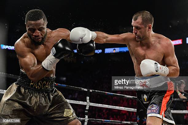 Sergey Kovalev of Russia throws a punch towards Jean Pascal of Canada during the WBO WBA and IBF light heavyweight world championship match at the...