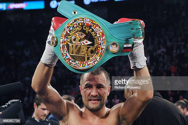 Sergey Kovalev stands with the WBC Light Heavyweight belt after defeating Jean Pascal during their Unified light heavyweight championship bout at the...