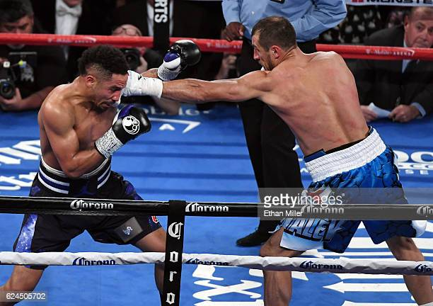 Sergey Kovalev throws a left at Andre Ward in the third round of their light heavyweight championship bout at TMobile Arena on November 19 2016 in...