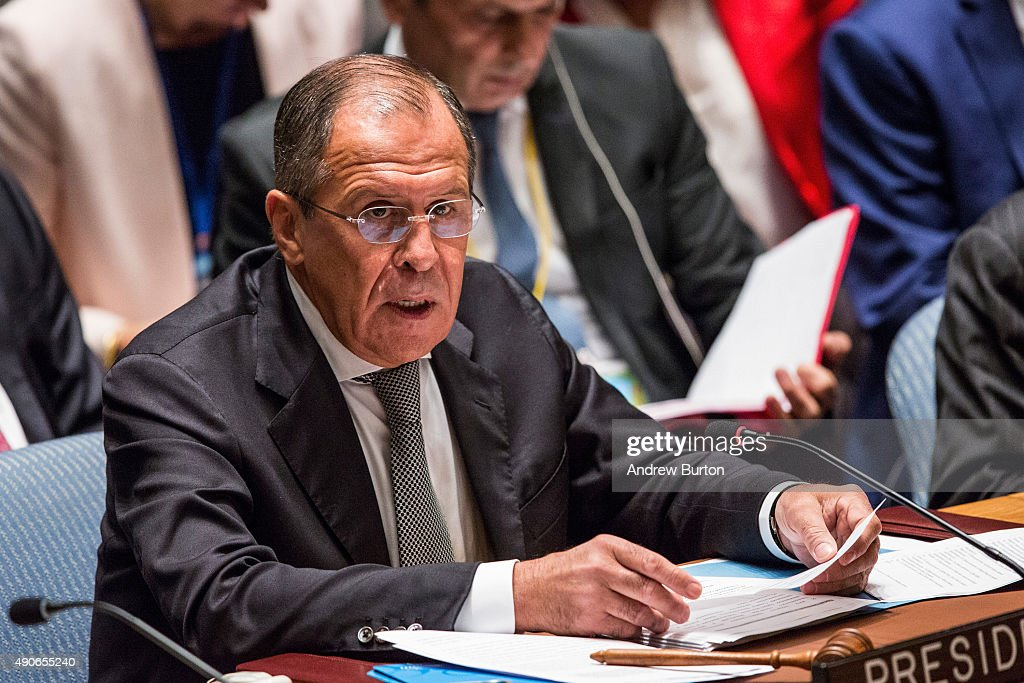 Sergey Lavrov, Foreign Minister of Russia, attends a United Nations (U.N.) Security Council meeting on September 30, 2015 in New York City. The Security Council is meeting about countering terrorism.