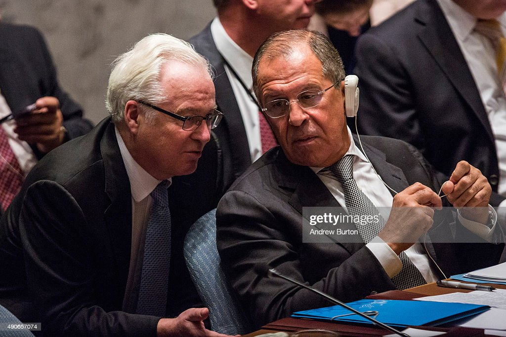 Sergey Lavrov (R), Foreign Minister of Russia, speaks to Vitaly Churkin, Russian Permanent Representative to the United Nations (U.N.), at a U.N. Security Council meeting on September 30, 2015 in New York City. The Security Council is meeting about countering terrorism.