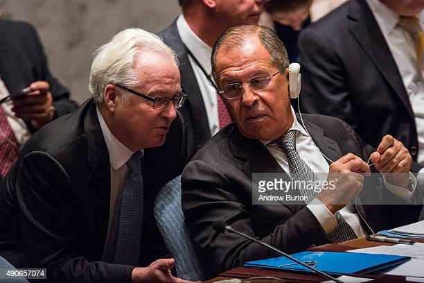 Sergey Lavrov Foreign Minister of Russia speaks to Vitaly Churkin Russian Permanent Representative to the United Nations at a UN Security Council...