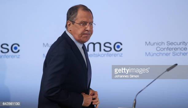 Sergey Lavrov Russian minister of foreign affairs delivers a speech at the 2017 Munich Security Conference on February 18 2017 in Munich Germany The...