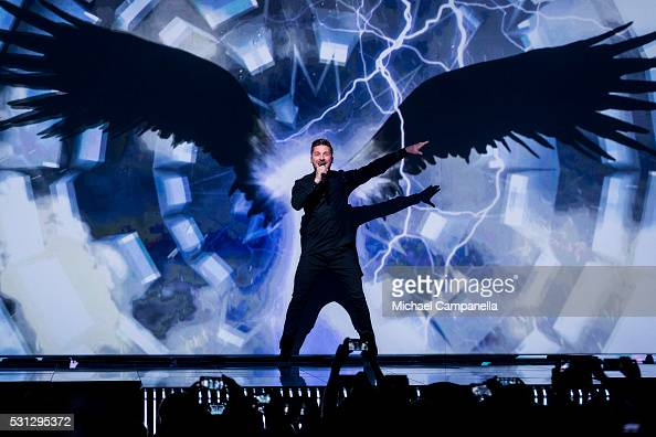Sergey Lazarev representing Russia performs the song 'You Are The Only One' during the final dress rehearsal of the 2016 Eurovision Song Contest at...