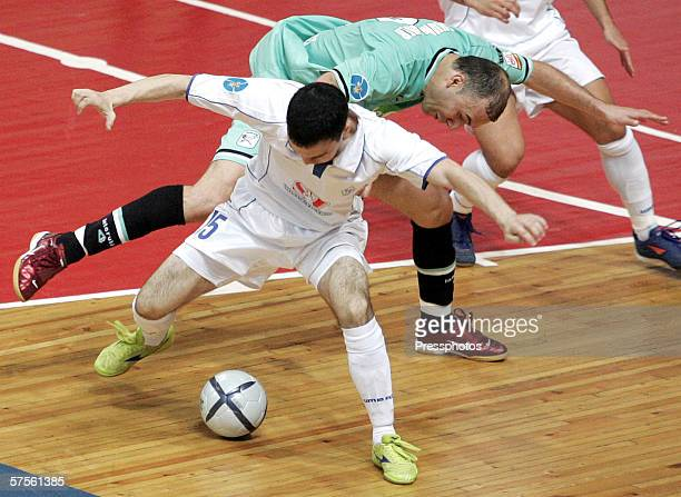 Sergey Malyshev of Dinamo Moscow competes against Schumacher of Boomerang Interviu FS during UEFA Futsal Cup final on May 7 2006 in Moscow Russia