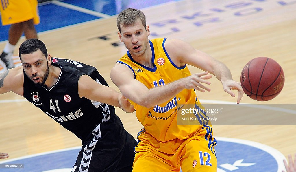 Sergey Monya, #12 of BC Khimki Moscow Region competes with Cevher Ozer, #41 of Besiktas JK Istanbul during the 2012-2013 Turkish Airlines Euroleague Top 16 Date 8 between BC Khimki Moscow Region v Besiktas JK Istanbul at Basketball Center of Moscow on February 22, 2013 in Moscow, Russia.