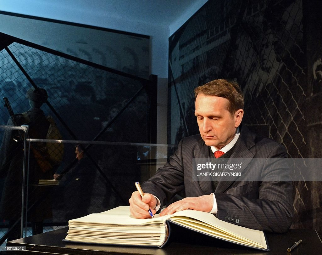 Sergey Naryshkin, chairman of the Russian State Duma, signs a book during the opening of a Russian exhibition at the memorial site of the former Nazi concentration camp Auschwitz in Oswiecim, Poland, on Holocaust Day, January 27, 2013. The opening of the exhibition took place 68 years after the liberation of the death camp by Soviet troops, in rememberance of the victims of the Holocaust.
