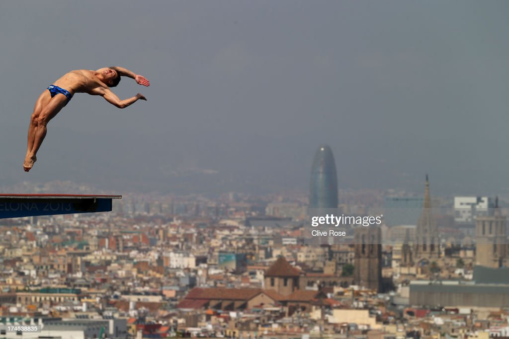 Sergey Nazin of Russia competes in the Men's 10m Platform Diving Semifinal round on day eight of the 15th FINA World Championships at Piscina Municipal de Montjuic on July 27, 2013 in Barcelona, Spain.