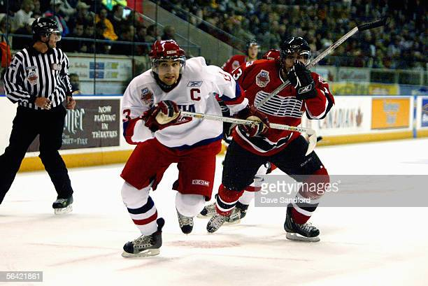 Sergey Ogorodnikov of the Russian Selects skates against the OHL AllStars in the ADT Canada Russia Challenge on November 24 2005 at the Kitchener...