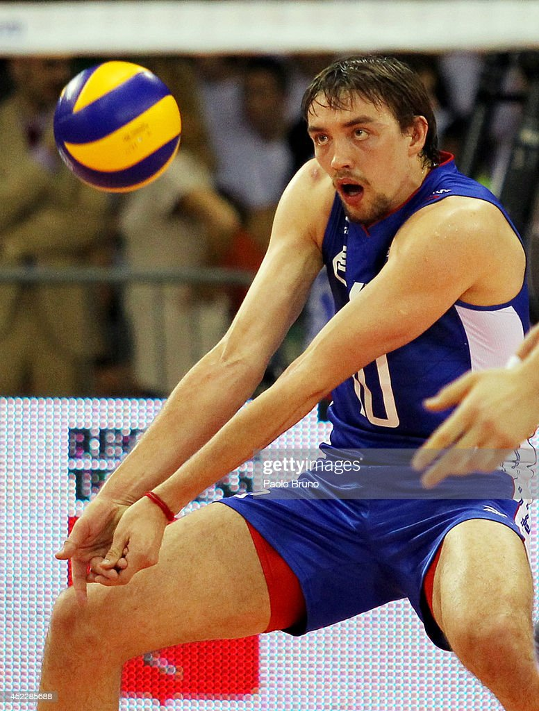 Sergey Savin of Russia in action during the FIVB World League Final Six match between Russia and Brazil at Mandela Forum on July 17, 2014 in Florence, Italy.
