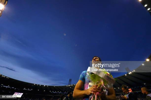 Sergey Shubenkov of Authorised Neutral Athletes or ANA celebrates after he wins the Mens 110m Final at the AG Memorial Van Damme Brussels as part of...
