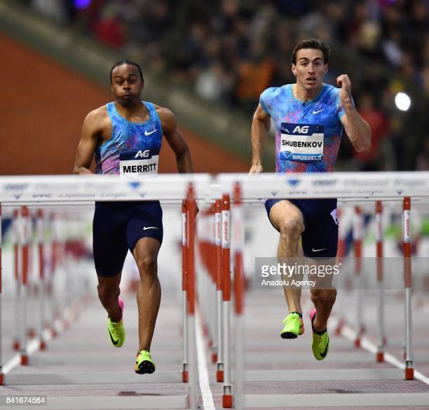 Sergey Shubenkov of Authorised Nuetral Athletes and Aries Merritt of the US compete in the Mens 110 metres hurdles during the IAAF Diamond League...