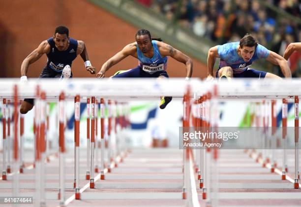 Sergey Shubenkov of Authorised Nuetral Athletes Aries Merritt of the US and Orlando Ortega of Spain compete in the Mens 110 metres hurdles during the...