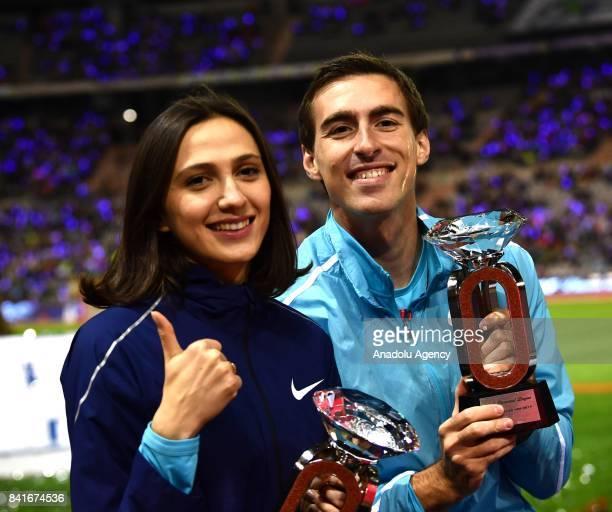 Sergey Shubenkov of Authorised Nuetral Athletes celebrates after winning the Men's 110 m Hurdles during the IAAF Diamond League Memorial Van Damme at...