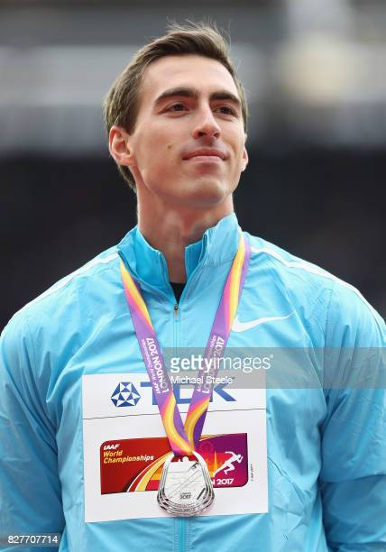 Sergey Shubenkov of Authorised Nuetral Athletes silver poses with his medal for the Men's 110 metres hurdles during day five of the 16th IAAF World...