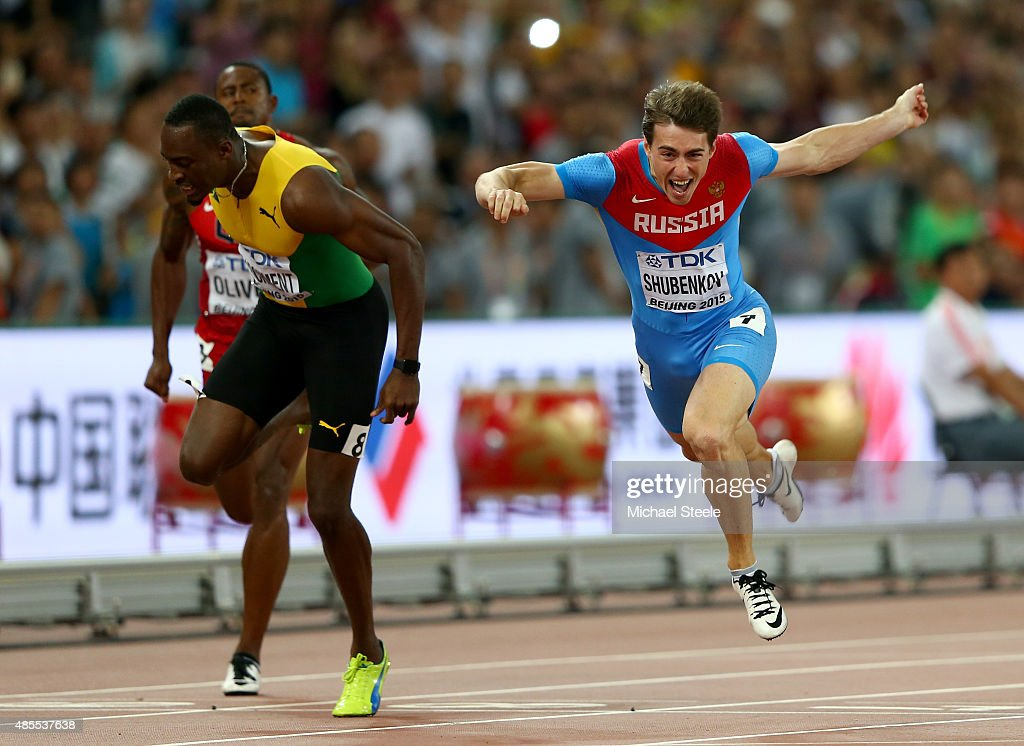 <a gi-track='captionPersonalityLinkClicked' href=/galleries/search?phrase=Sergey+Shubenkov&family=editorial&specificpeople=8099833 ng-click='$event.stopPropagation()'>Sergey Shubenkov</a> of Russia crosses the finish line to win gold in the Men's 110 metres hurdles final ahead of <a gi-track='captionPersonalityLinkClicked' href=/galleries/search?phrase=Hansle+Parchment&family=editorial&specificpeople=7242209 ng-click='$event.stopPropagation()'>Hansle Parchment</a> of Jamaica during day seven of the 15th IAAF World Athletics Championships Beijing 2015 at Beijing National Stadium on August 28, 2015 in Beijing, China.