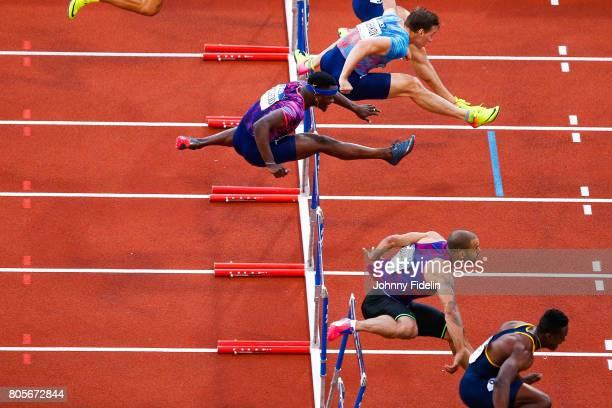 Sergey Shubenkov Omar McLeod of Jamaica and Garfield Darien of France 110m Hurdles during the Meeting de Paris of the IAAF Diamond League 2017 on...