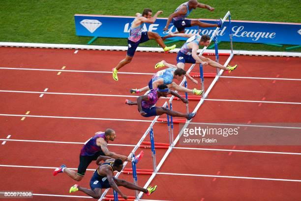 Sergey Shubenkov Omar McLeod of Jamaica Garfield Darien of France and Ronald Levy of Jamaica 110m Hurdles during the Meeting de Paris of the IAAF...