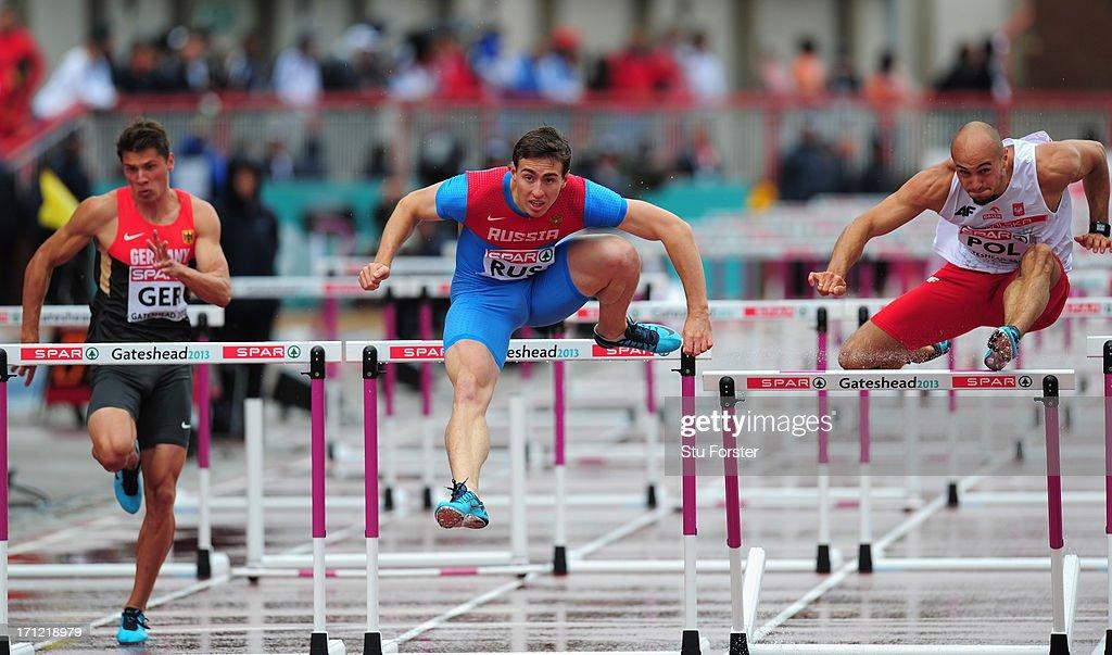 Sergey Shubenkov wins the Mens 110 metres Hurdles heat during day two of the European Athletics Team Championships at Gateshead International Stadium...