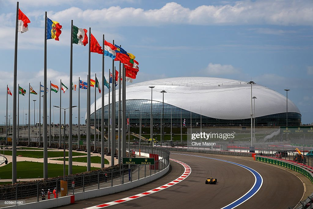 Sergey Sirotkin of Russia and Renault Sport F1 drives in the Renault R.S.16 on track during practice for the Formula One Grand Prix of Russia at Sochi Autodrom on April 29, 2016 in Sochi, Russia.
