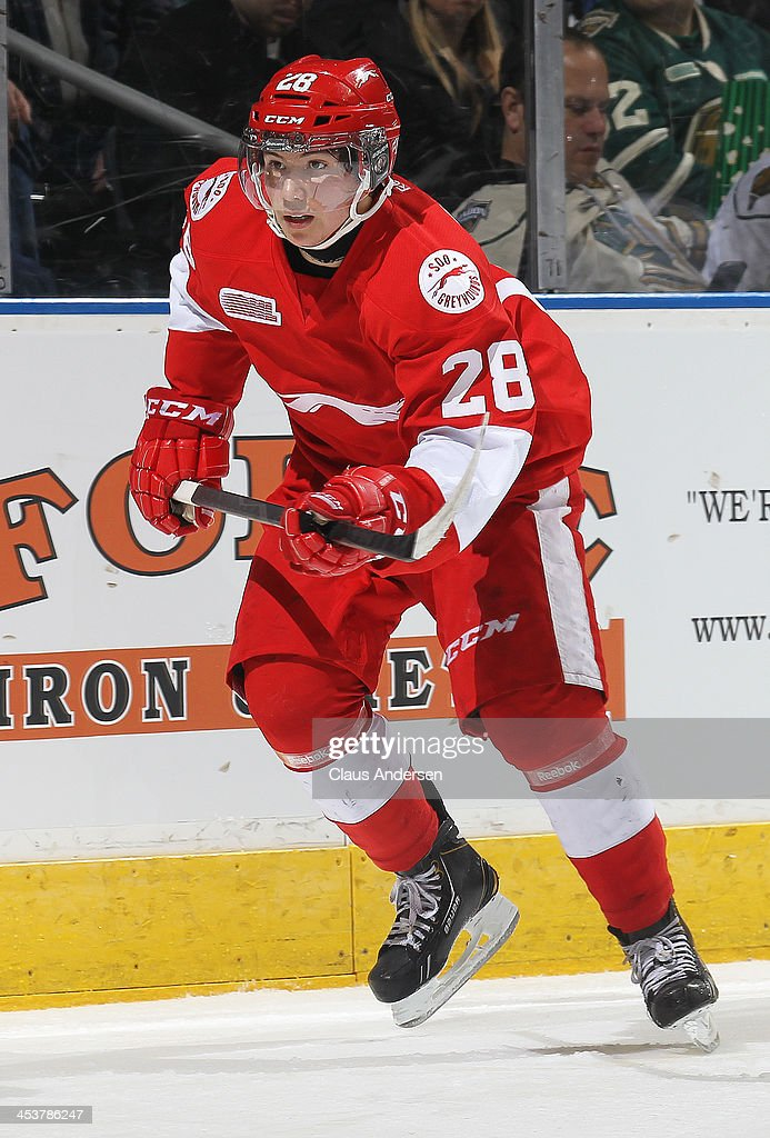 Sergey Tolchinsky #28 of the Sault Ste. Marie Greyhounds skates against the London Knights during an OHL game at the Budweiser Gardens on December 4, 2013 in London, Ontario, Canada. The Knights defeated the Greyhounds 3-2.