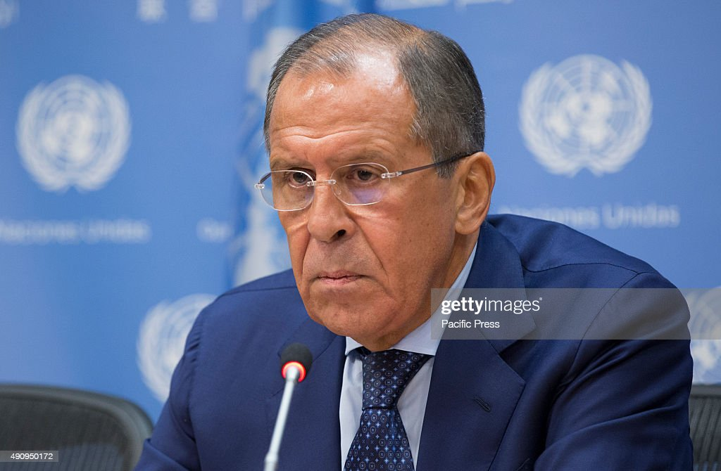 Sergey V. Lavrov, Minister for Foreign Affairs of the Russian Federation speaks during a Press Conference on the war in Syria at the UN Headquarters in New York City.