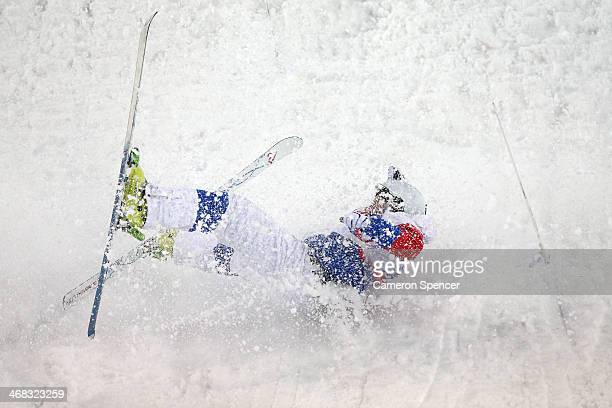 Sergey Volkov of Russia crashes out in the Men's Moguls Qualification on day three of the Sochi 2014 Winter Olympics at Rosa Khutor Extreme Park on...