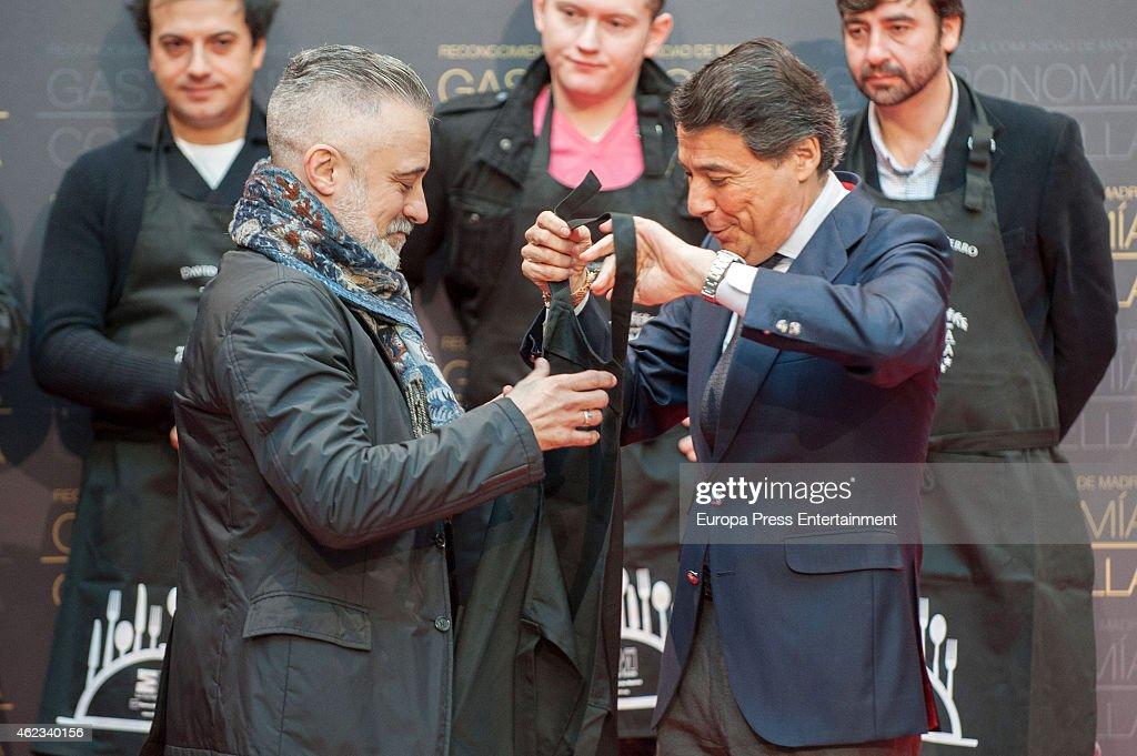Sergi Arola and President of Madrid region Ignacio Gonzalez attend Madrid Michelin Starred Chefs at Real Casa de Correos on January 26 2015 in Madrid...