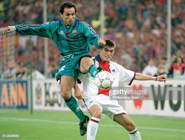 Sergi Barjuan of Barcelona wins the ball during the UEFA European Cup Winner's Cup Final between Barcelona and Paris SaintGermain at the Feijenoord...