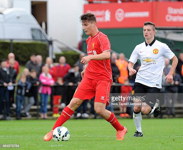 Sergi Canos of Liverpool in action during the Barclays Premier League Under 18 fixture between Liverpool and Manchester United at the Liverpool FC...