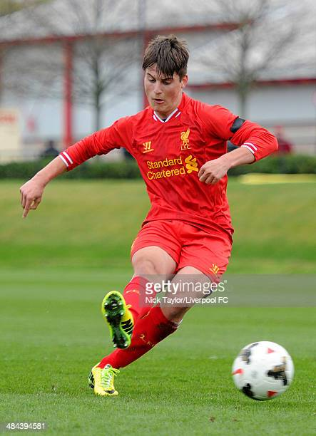 Sergi Canos of Liverpool scores from the penalty spot during the Barclays Premier League Under 18 fixture between Liverpool and West Bromwich Albion...