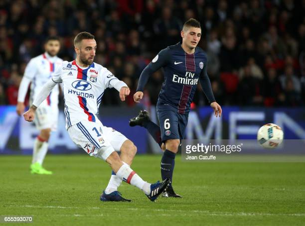 Sergi Darder of Lyon and Marco Verratti of PSG in action during the French Ligue 1 match between Paris SaintGermain and Olympique Lyonnais at Parc...