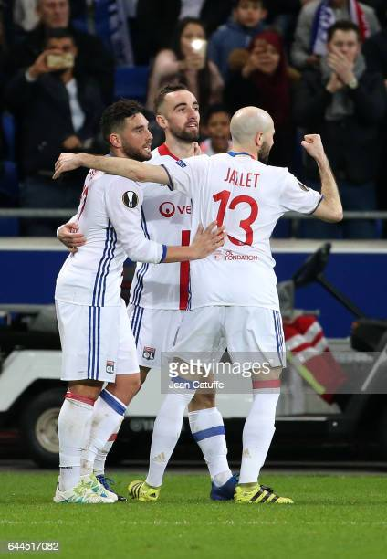 Sergi Darder of Lyon celebrates his goal between Jordan Ferri and Christophe Jallet during the UEFA Europa League Round of 32 second leg match...