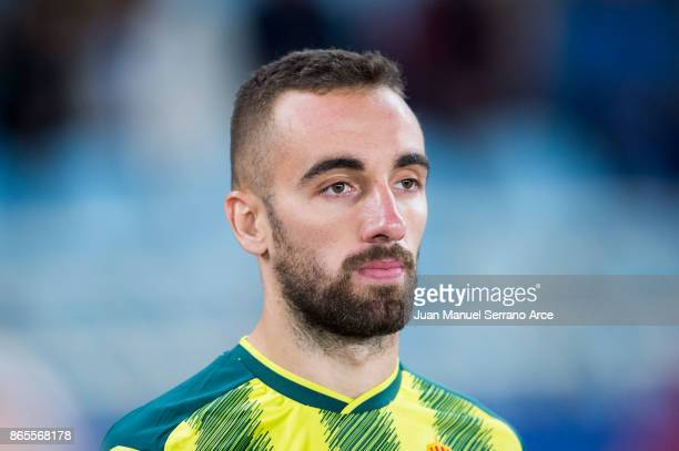 Sergi Darder of RCD Espanyol looks on prior to the start the La Liga match between Real Sociedad de Futbol and RCD Espanyol at Estadio Anoeta on...