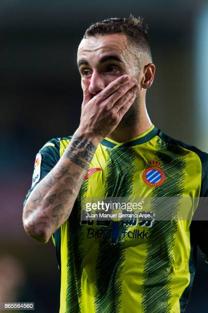 Sergi Darder of RCD Espanyol reacts during the La Liga match between Real Sociedad de Futbol and RCD Espanyol at Estadio Anoeta on October 23 2017 in...
