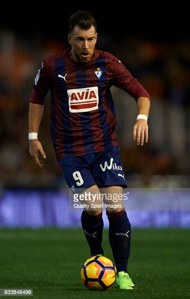 Sergi Enrich of Eibar in action during the La Liga match between Valencia CF and SD Eibar at Mestalla Stadium on February 4 2017 in Valencia Spain