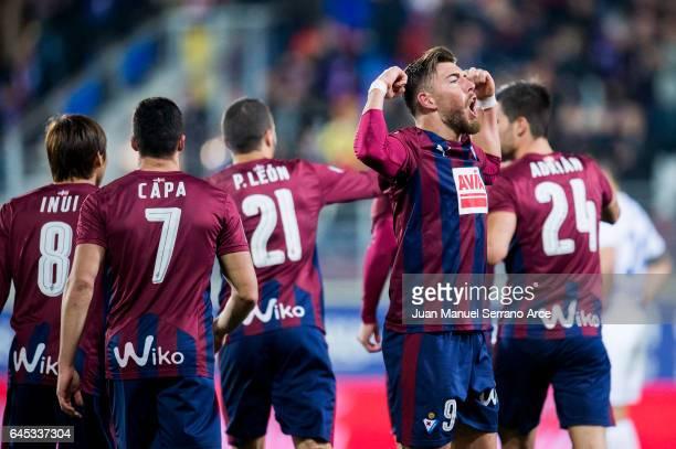 Sergi Enrich of SD Eibar celebrates after scoring his team's third goal during the La Liga match between SD Eibar and Malaga CF at Ipurua Municipal...