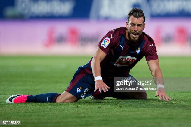 Sergi Enrich of SD Eibar reacts during the La Liga match between SD Eibar and Athletic Club at Ipurua Municipal Stadium on on April 24 2017 in Eibar...
