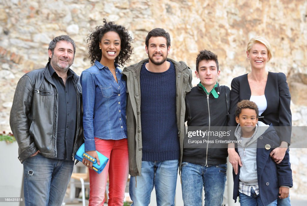 Sergi Lopez, Ella Kweku, Mario Casas, Mikel Iglesias, Belen Rueda and Larsson do Amaral are seen on the set of their latest film 'Ismael' on March 25, 2013 in Barcelona, Spain.