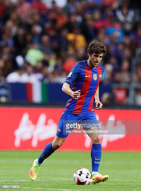 Sergi Roberto Carnicer of FC Barcelona during the PreSeason Friendly between Leicester City FC and FC Barcelona at Friends arena on August 3 2016 in...
