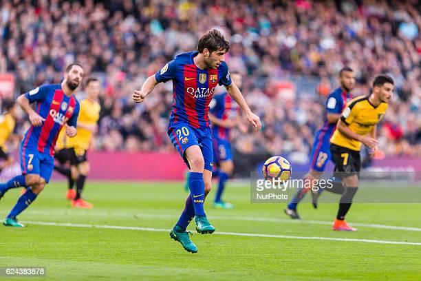 Sergi Roberto during the match between FC Barcelona vs Malaga CF for the round 12 of the Liga Santander played at Camp Nou Stadium on 19th November...