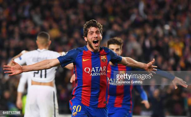Sergi Roberto of Barcelona as he scores their sixth goal during the UEFA Champions League Round of 16 second leg match between FC Barcelona and Paris...