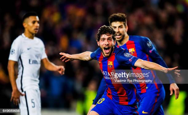 Sergi Roberto of Barcelona celebrates after scoring his team's six and final goal during the UEFA Champions League Round of 16 second leg match...