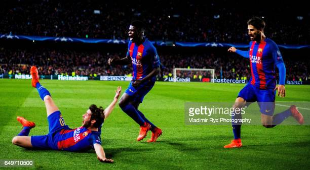 Sergi Roberto of Barcelona celebrates together with Samuel Umtiti and Andre Gomes after scoring his team's six and final goal during the UEFA...