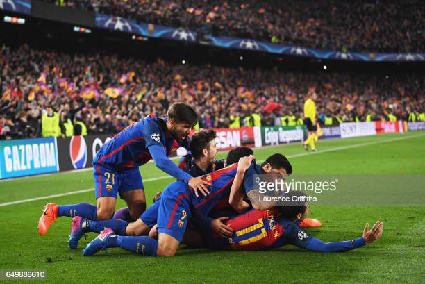 Sergi Roberto of Barcelona celebrates with team mates as he scores their sixth goal during the UEFA Champions League Round of 16 second leg match...