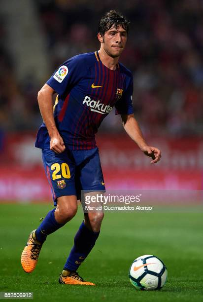 Sergi Roberto of Barcelona in action during the La Liga match between Girona and Barcelona at Municipal de Montilivi Stadium on September 23 2017 in...